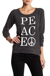 Chaser Long Sleeve Peace Pullover Black