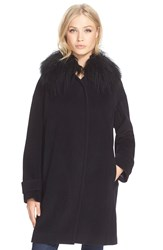 Rebecca Taylor Genuine Shearling Collar Coat Black