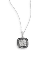 Effy Final Call White Diamond Black Diamond And 14K White Gold Pave Necklace White Gold Black