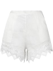 Ermanno Scervino Lace Trim Beach Shorts Women Linen Flax Polyester 38 White