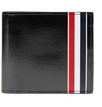 Thom Browne Striped Patent Leather Billfold Wallet Black