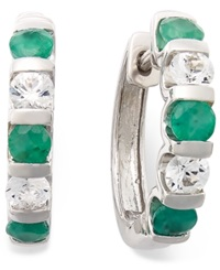 Macy's Sterling Silver Earrings Emerald And White Saphire Channel Hoop Earrings 2 1 3 Ct. T.W.