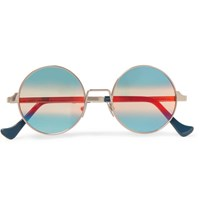 Cutler And Gross Round Frame Silver Tone Sunglasses Silver