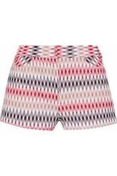 Missoni Crochet Knit Shorts Red