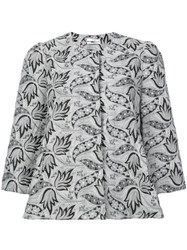 Co Embroidered Cropped Sleeves Jacket Grey