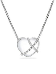 David Yurman Le Petit Coeur Sculpted Heart Chain Necklace With Crystal And Diamonds Silver