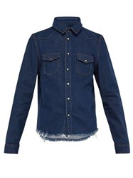 Marques'almeida Cowboy Frayed Trim Denim Shirt Indigo