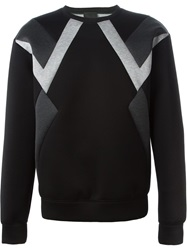 Les Hommes Panelled Sweater Black