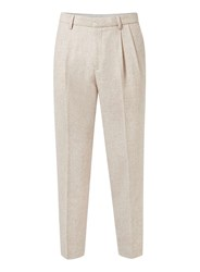 Topman Brown Premium Oatmeal Pleated Skinny Fit Dress Pants
