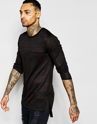 Asos Sheer Slub Jersey Muscle Super Longline Long Sleeve T Shirt Black