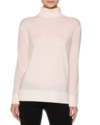 Callens Turtleneck Sweater W Mesh Knit Sleeves Warm White Wrarm White
