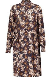Mother Of Pearl Carlthorp Pleated Floral Print Silk Crepe De Chine Dress Multi
