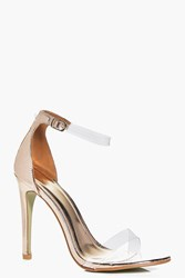 Boohoo Clear Strap Two Part Heels Rose Gold