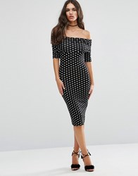 Asos Midi Bardot Off Shoulder Bodycon Dress With 3 4 Sleeve In Spot Print Multi