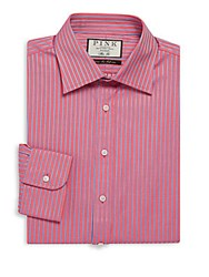 Thomas Pink Gibson Slim Fit Striped Cotton Dress Shirt Pink Blue