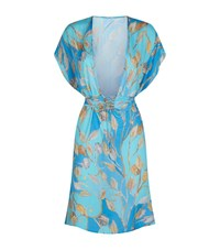 Gottex Tie Waist Silk Dress Female Blue