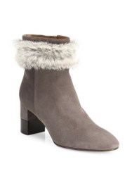 Aquatalia By Marvin K Elle Suede And Rabbit Fut Block Heel Booties Taupe Black