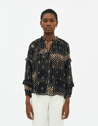 Farrow Marie Printed Blouse In Black Size Extra Small