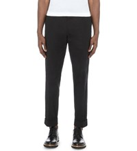 Dries Van Noten Philip Tailored Fit Tapered Cotton Trousers Bla