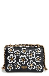 Moschino Flowery Flap Leather Shoulder Bag