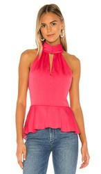 1.State 1. State Smocked Neck Rumple Hammered Blouse In Pink. Retro Pink