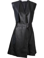 Dion Lee Trench Leather Dress Black