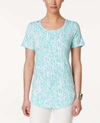 Jm Collection Printed T Shirt Only At Macy's Aqua Dash Deep