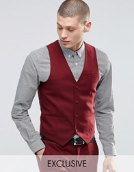 Only And Sons Skinny Waistcoat With Stretch Burgundy Red
