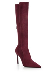 Prada Stretch Suede Knee High Boots Bordeaux Grey