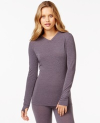 Cuddl Duds Active Layer Long Sleeve V Neck T Shirt Shadow Heather