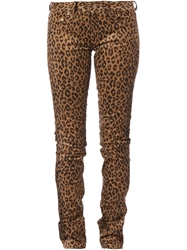 Saint Laurent Leopard Print Skinny Jeans Nude And Neutrals