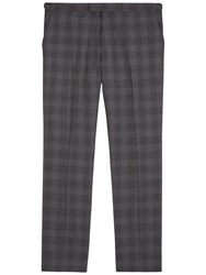 Jaeger Prince Of Wales Regular Fit Suit Trousers Grey
