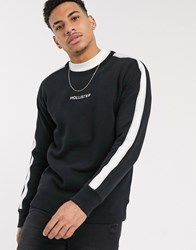 Hollister Box Logo Crewneck Sweat With Taping In Black