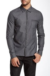 Rogue Leather Trim Shirt Gray