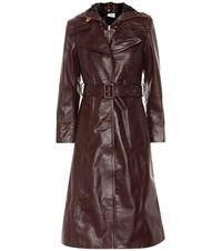 Vetements Hooded Leather Trench Coat Brown