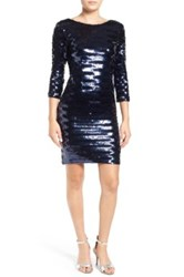 A. Drea Sequin V Back Body Con Dress Blue