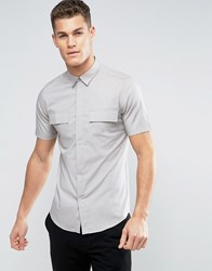 Only And Sons Skinny Short Sleeve Smart Military Shirt Porpoise Grey