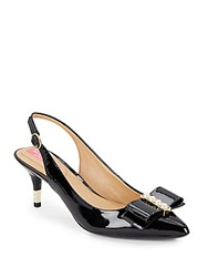 Isaac Mizrahi Miro Faux Pearl Bow Patent Leather Slingback Pumps Black