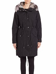 Andrew Marc New York Natalia Fur Trimmed Military Parka Black