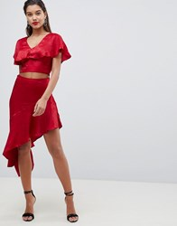 Ax Paris Ruffle Asymetric Skirt Red