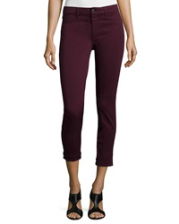 J Brand Anja Skinny Cuffed Ankle Jeans Deep Mulberry
