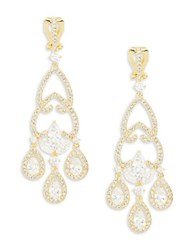 Nadri Goldtone Cubic Zirconia Accented Clip On Chandelier Earrings No Color