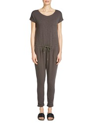 Oui Cotton Jersey Jumpsuit Dark Brown