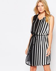 B.Young Striped Belted Shift Dress Black