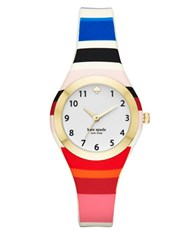 Kate Spade Fashion Rumsey Goldtone Analog Silicone Strap Watch Multi Colored