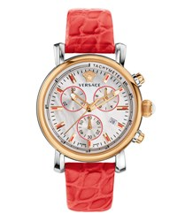 Versace Day Glam Chronograph Watch W Leather Strap Rose Golden Coral