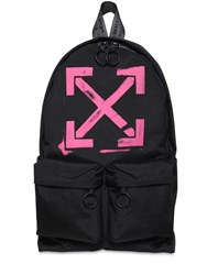 Off White Print Arrows Tech Canvas Backpack Black