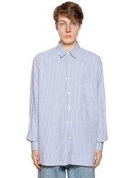 Our Legacy Striped Cotton Poplin Shirt White Blue