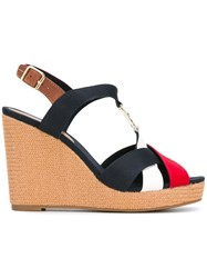 Tommy Hilfiger Colourblock Wedge Sandals Women Leather Tactel Rubber 36 Blue