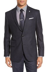 Ted Baker Men's London 'Jay' Trim Fit Plaid Silk And Wool Sport Coat